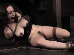 Hogtied busty skank getting...
